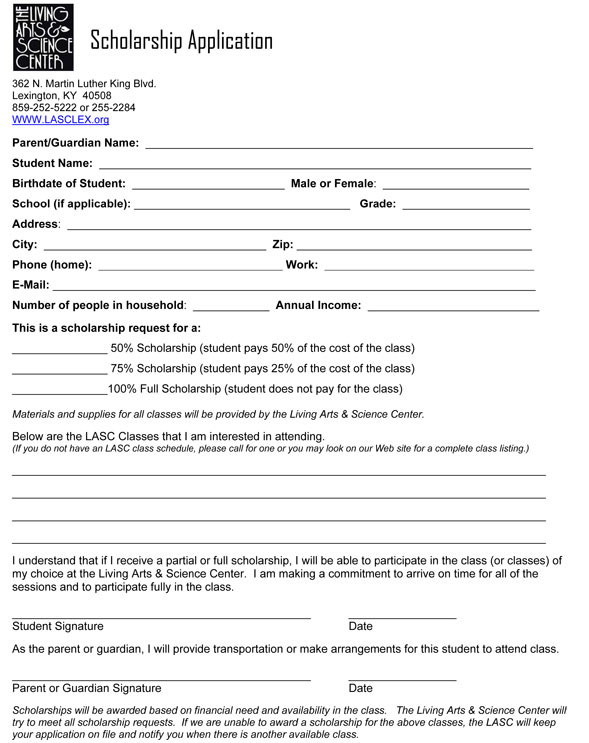 Scholarship Application  Living Arts And Science Center